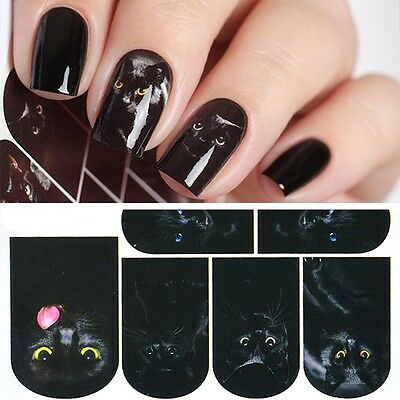 Nail Art Water Decals Stickers Transfers Mysterious Black Cat Halloween (459)