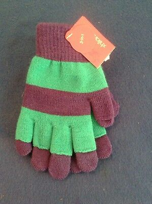 Xhilaration 3 In 1 Pack Of 1 Blue & Purple Striped Fall Winter Gloves