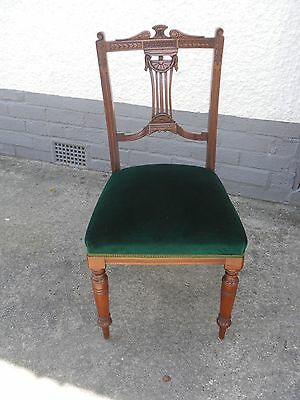4 old/antique/ vintage Wooden Dining Chairs,velvet seats,possibly Edwardian.