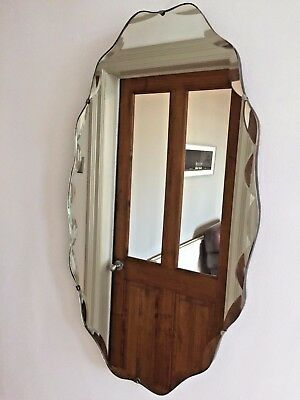 LARGE Original VINTAGE Bevelled Frameless Wall MIRROR 68X39cm Vertical 1940s