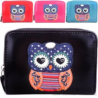 Ladies / Womens / Girls Faux Leather Purse / Money / Coin Holder with Owl Design