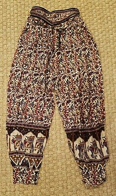 vtg india cotton gauze floral elephant hippie high-waist drawstring harem pants