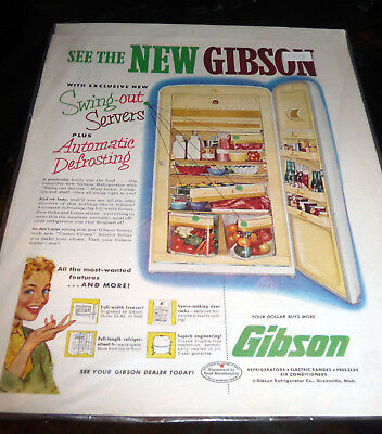 Vintage 1953 Gibson Refrigerator Appliance Ad