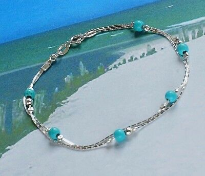 925 Sterling Silver TURQUOISE chain Bracelet Blue Holiday must have