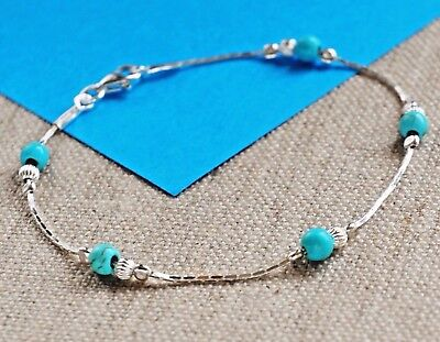 925 Sterling Silver TURQUOISE Bracelet Blue Holiday must have