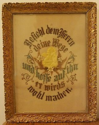 Antique 1800's Needlework Sampler German Blessing & Original Wooden Frame NICE