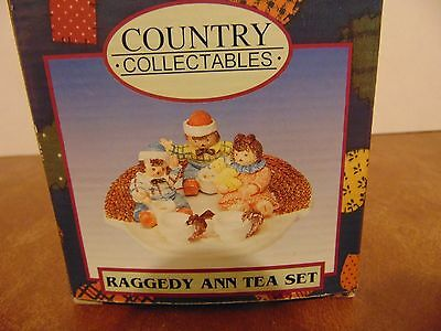 Raggedy Ann Tea Set collectible figurine set.  Is a Country Collectables set
