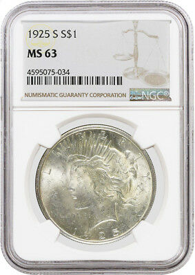 1925 S $1 Silver Peace Dollar NGC MS63