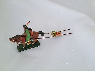 A193/  Hausser Elastolin Squaw Indianer in mit Pferd  Wildwest Figur v ca. 1935