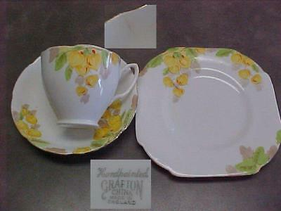 Grafton English China Yellow Floral Trio Tea Cup Saucer Plate Handpainted Vintge