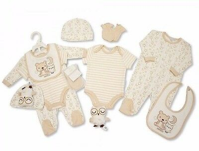 Baby Neutral Beige 6 Piece Clothing & Sleepy Owl Soft Toy Layette Gift Set AW'17
