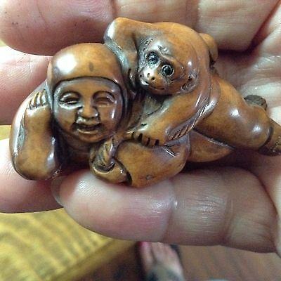 Antique Hand-Carved, 19th C. , Signed, Wood Netsuke of Man and Monkey