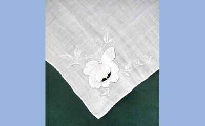 antique WEDDING WHITE ON WHITE EMBROIDERED WEDDING HANKIE cut out,pansy?