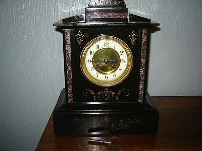 Victorian slate and marble clock