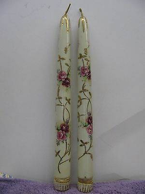 Vintage hand painted Ceramic Candle Sticks