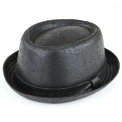 4dd034ef20acf Porkpie Pork Pie Hat BLACK Cracked Leather Distressed Vintage Effect Cap  Trilby