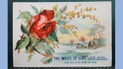 antique VICTORIAN TRADE CARD WHITE SEWING MACHINE red rose BAKER NEW HOLLAND PA