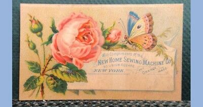 antique VICTORIAN TRADE CARD NEW HOME SEWING MACHINE CO rose butterfly
