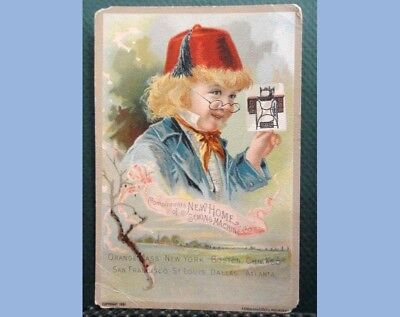 1891 antique VICTORIAN TRADE CARD NEW HOME SEWING MACHINE red hat#4