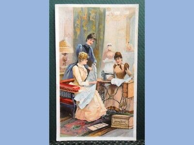 antique VICTORIAN TRADE CARD DOMESTIC SEWING MACHINE CO dressmaking PATTERNS