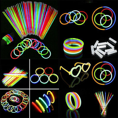 100Pcs Glow Sticks Bracelets Necklaces Fluorescent Neon Party Wedding Magic Hot