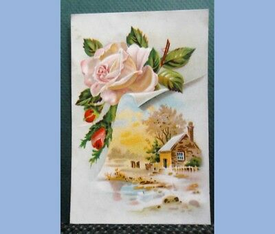 antique VICTORIAN TRADE CARD LION COFFEE rose WOOLSON SPICE CO TOLEDO OH