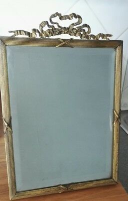 Antique Victorian Art Deco Heavy Bevelled Standing Small Dressing Table Mirror