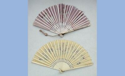LOT antique 2 COORDINATING PURPLE/ECRU WOOD,PAPER,LACE FOLDING HAND FAN