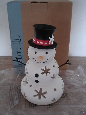 NIB Partylite Mr Snow Snowman Holiday Top Hat Snowflake Tealight Candle Holder