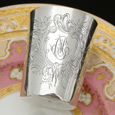 """Antique French Sterling Silver Wine or Mint Julep Cup, Tumbler or """"Timbale"""", CM"""