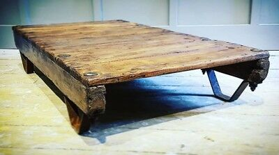 Vintage Industrial Old Wooden Flour Mill Cart Trolley Low Coffee / Side Table