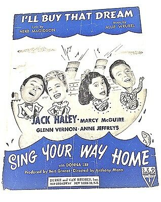 """Vintage """"I'll Buy That Dream"""" Sheet Music Dated 1945"""