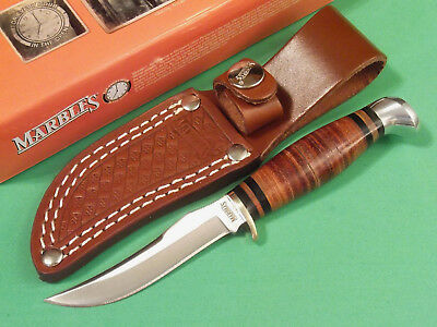 "MARBLES MR396 SMALL HUNTER Stacked Leather fixed blade knife 6 1/4"" overall NEW!"