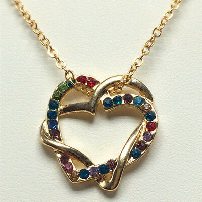 Women Valentine's Gift Double Heart Crystal Rhinestone Chain Pendant Necklace L3