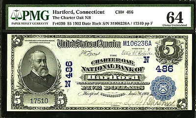 Hartford, CT  $5 1902 Date Back Fr. 590 The Charter Oak NB Ch. # (N) 486 PMG 64