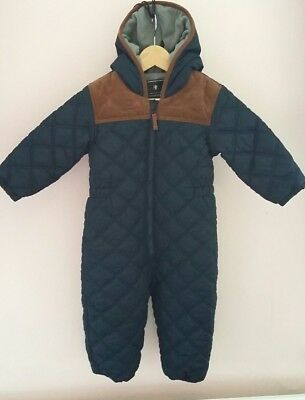 Boys Gorgeous Quilted Navy Blue Snow Suit By Next 18/24 Months Ex Cond