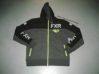 FXR Black & Heather Gray Ride Co Zip Up Hoodie 2XL 181111-0610-19 CLEARANCE