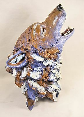Wolf Howling Multi-color Bust Animal Figurine Home Decor