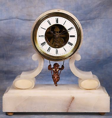 French White Marble Cherub Swing Clock by Eugene Farcot