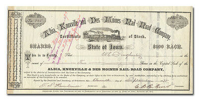Albia, Knoxville and Des Moines Rail Road Company Stock Certificate