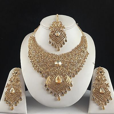 Beige Gold Indian Costume Jewellery Necklace Earrings Diamond Set Bridal New 91