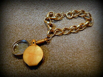 Vintage Collectible Brass Magnifying Loop on a Wrist Chain  -  MK