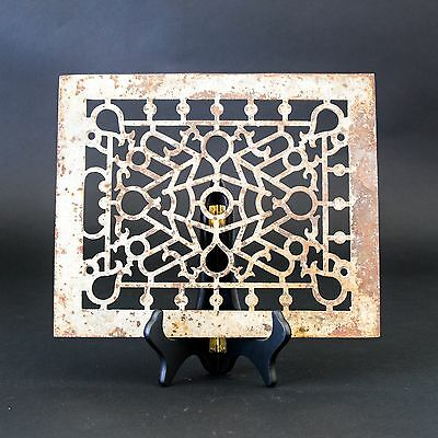 """11.75"""" x 9.5"""" Antique Salvaged Victorian Cast Iron Heating Grate/Vent Cover"""