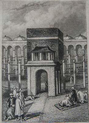 The Kaaba, Mecca Arabia - 1840 Antique Engraving Islam Islamic Makkah