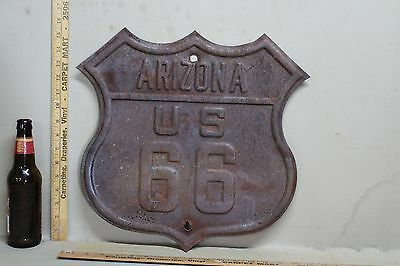 Rare ARIZONA US ROUTE 66 EMBOSSED METAL HIGHWAY SIGN GAS OIL CAR FORD TEXAS