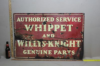 SCARCE 1930's WHIPPET WILLY'S JEEP 2-SIDED PORCELAIN DEALER SIGN GAS OIL CAR