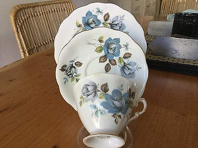 Royal Standard Fine Bone China Trio Blue Mist Pattern Made In England