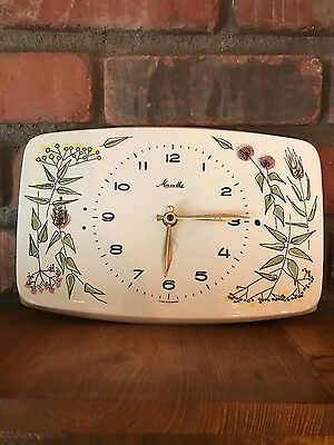 Mauthe Kitchen Ceramic Clock Flowers Floral Clock Mid Century Modern Germany VTG