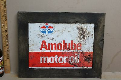 1960's AMOCO AMOLUBE OIL METAL SIGN IN WOOD FRAME SIGN GAS OIL GARAGE FORD
