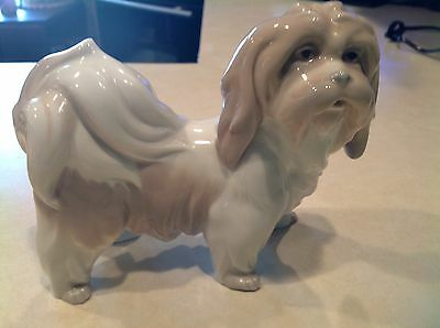 "Retired Lladro Standing Pekingnese Dog Figurine 6"" Tall By 8"" Long"